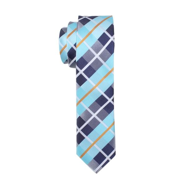 Skinny Tie Madness Men's Teal Plaid Skinny Tie