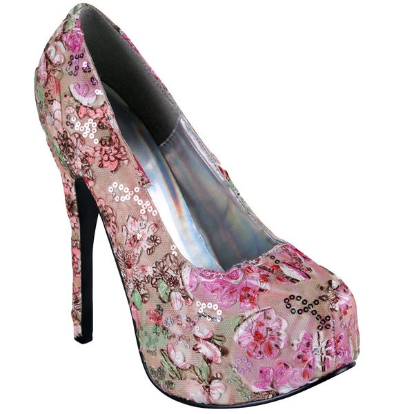 Bordello Women's 'Teeze' Pink Multi-floral Fabric Wrapped Pumps