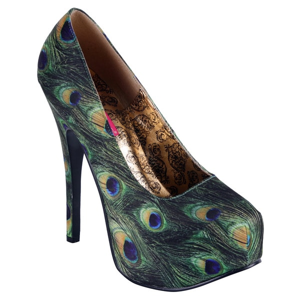 Bordello Women's 'Teeze' Green Peacock Fabric Wrapped Pumps
