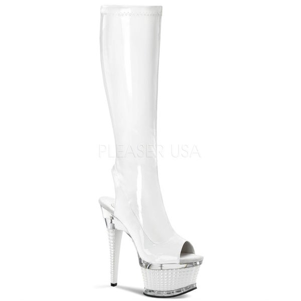 Pleaser Women's 'Illusion' Patent Knee-high Stiletto Boots