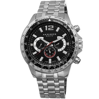 Akribos XXIV Men's Quartz Multifunction Tachymeter Stainless Steel Silver-Tone Bracelet Watch