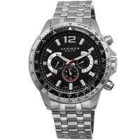 Akribos XXIV Men's Quartz Multifunction Tachymeter Stainless Steel Silver-Tone Bracelet Watch