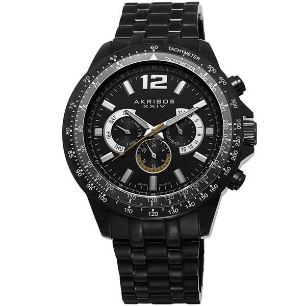Akribos XXIV Men's Quartz Multifunction Tachymeter Stainless Steel Black Bracelet Watch