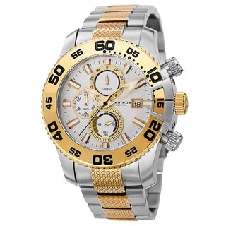 Akribos XXIV Men's Chronograph Embossed Dial Stainless Steel Two-Tone Bracelet Watch