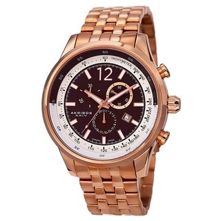 Akribos XXIV Men's Chronograph Tachymeter Stainless Steel Rose-Tone Bracelet Watch