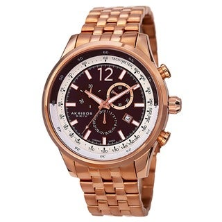 Akribos XXIV Men's Chronograph Tachymeter Stainless Steel Rose-Tone Bracelet Watch