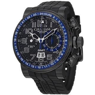 Graham Men's 2BLCB.B30A 'Silverstone' Black Dial Black Rubber Strap GMT Watch