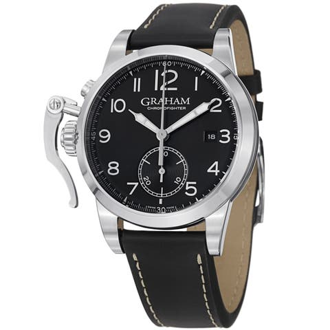 Graham Men's 'Chronofighter' Black Dial Black Leather Strap Watch