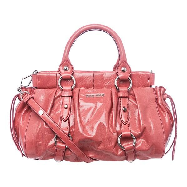 Miu Miu 'Lux' Pink Vitello Leather Drawstring Satchel