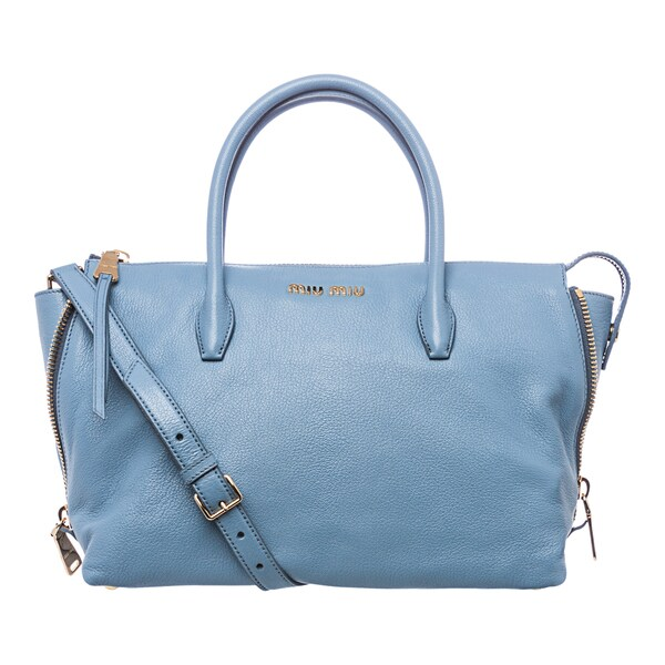 Miu Miu 'Madras' Sky Blue Leather Side-zip Satchel