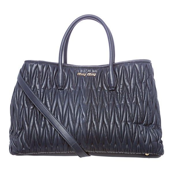 Miu Miu Blue Leather Matelasse Textured Tote