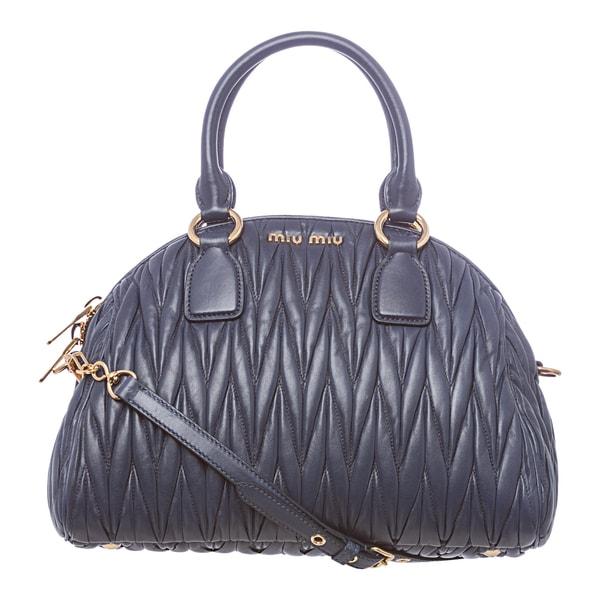 Miu Miu Blue Leather Matelasse Textured Bowler Bag