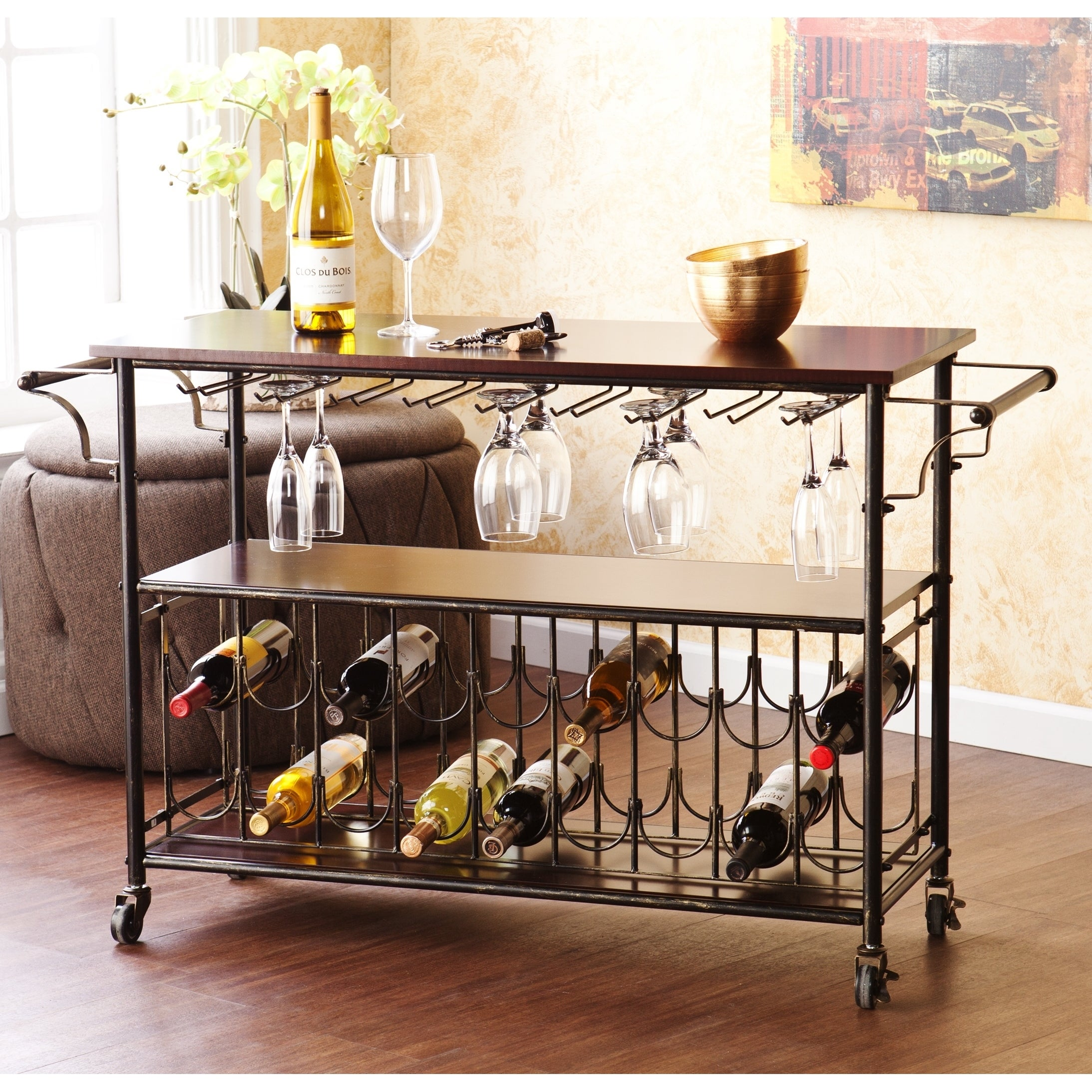 Carbon Loft Guppy Espresso/Black Wine Bar Cart Serving Table