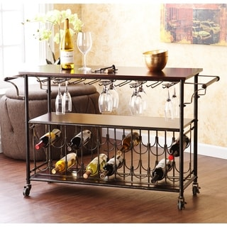 Harper Blvd Tuscany Espresso/Black Wine Bar Cart Serving Table   Free  Shipping Today   Overstock.com   15994531