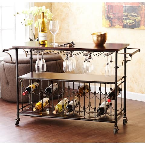 Carbon Loft Guppy Industrial Bar Cart Wine Rack & Serving Table