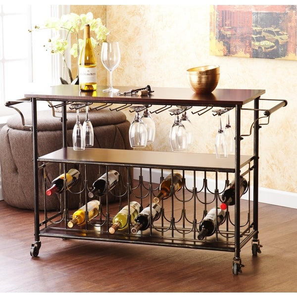Harper Blvd Tuscany Espresso Black Wine Bar Cart Serving