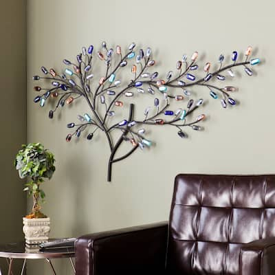 None Willow Multicolored Metal and Glass Tree Wall Sculpture