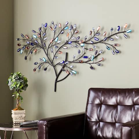 SEI Furniture Willow Multicolored Metal and Glass Tree Wall Sculpture
