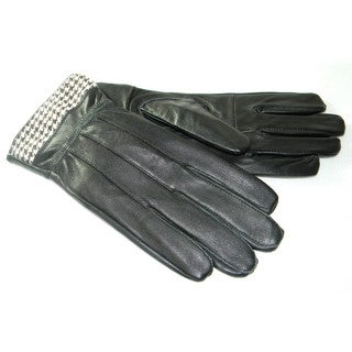 Hollywood Tag Women's Black Leather Houndstooth Cuff Gloves