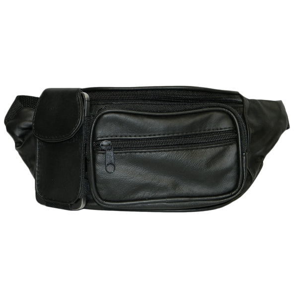 Hollywood Tag Black Leather Fanny Pack