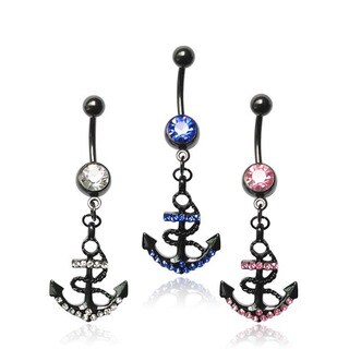 Supreme Jewelry Black Anodized Titanium Anchor with Bling Belly Rings (Case of 120)