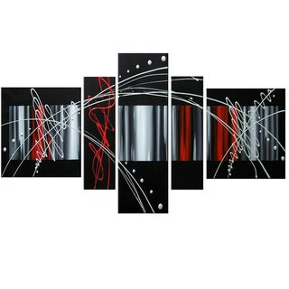 Unknown '5-piece Abstract Black Red Silver' Hand-painted Oil on Canvas Art Set