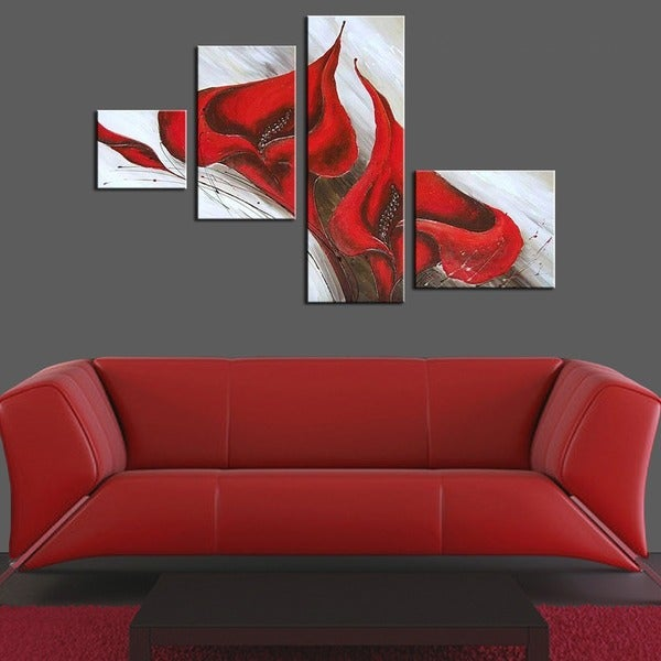 Unknown '4-piece Red Flower' Hand-painted Oil on Canvas Art Set
