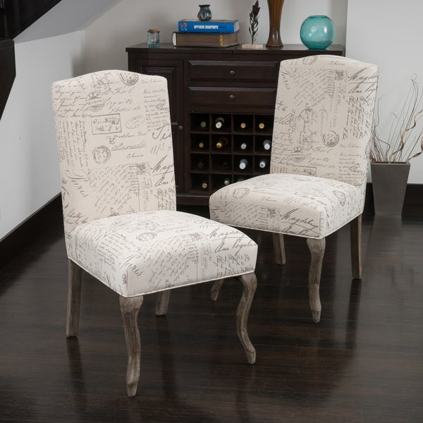 Crown Top French Script Beige Fabric Dining Chair (Set Of 2) By Christopher  Knight