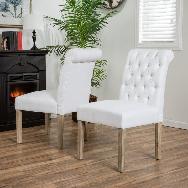 Dinah roll top white fabric dining chair set of 2 by for White fabric dining chairs