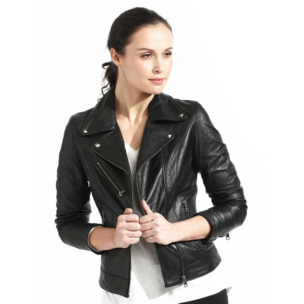Women's Slim Fit Black Full-grain Leather Biker Jacket - Free ...