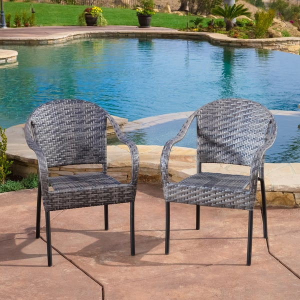 Shop Sunset Grey Outdoor Wicker Chair (Set of 2) by ...