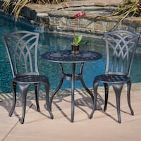 Sanders 3-piece Black and Sand Cast Aluminum Outdoor Bistro Set by Christopher Knight Home