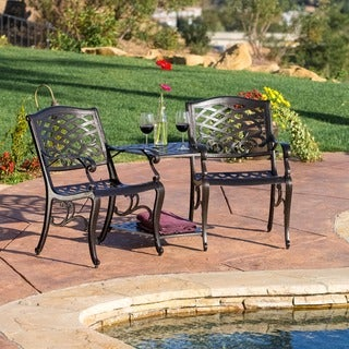 Sarasota Bronze Cast Aluminum Outdoor Adjoining Chair by Christopher Knight Home