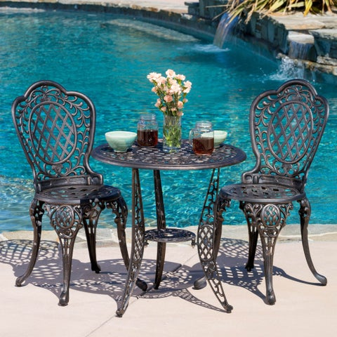 Cole 3-piece Bronze Cast Aluminum Outdoor Bistro Set by Christopher Knight Home