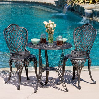Christopher Knight Home Cole 3-piece Bronze Cast Aluminum Outdoor Bistro Set