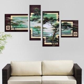 Hand-painted African Landscape Tree 4-piece Canvas Art Set