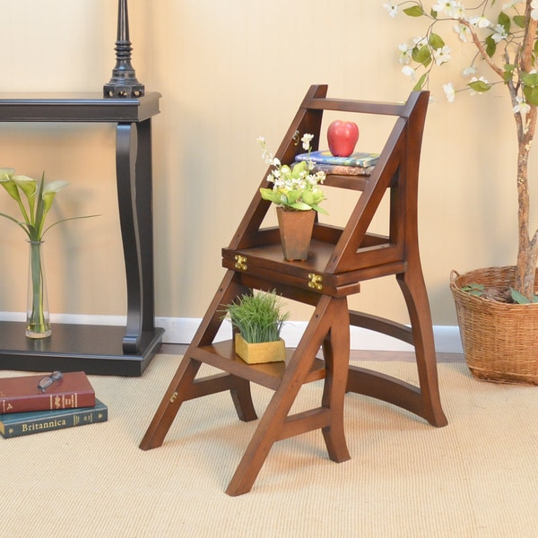 Folding Wood Library Ladder Chair Free Shipping Today 15994656