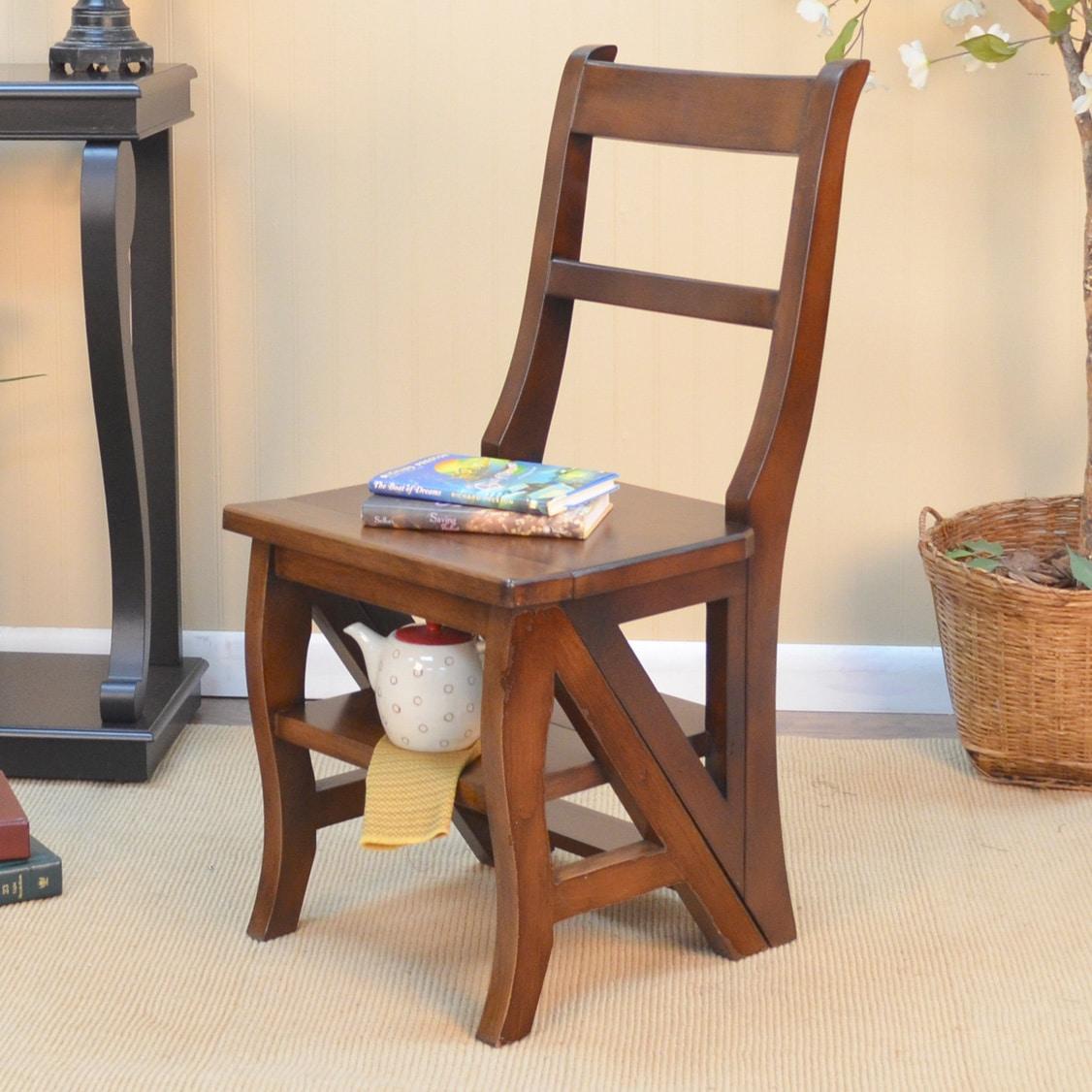 Carolina Folding Wood Library Ladder Chair (Chestnut), Brown