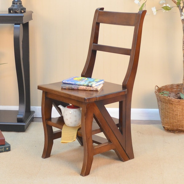 Copper Grove Stevensville Folding Wood Library Ladder Chair