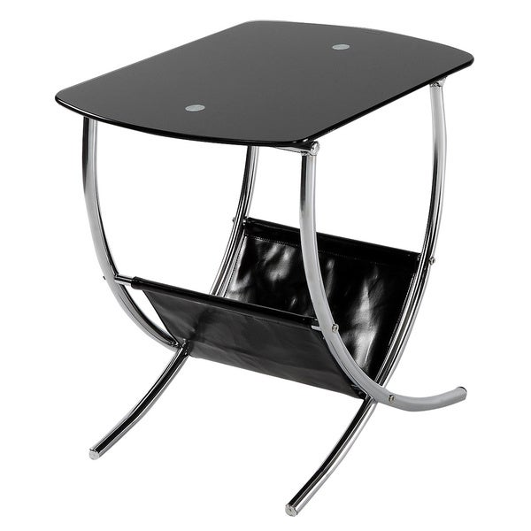 998914faf4 Shop Chrome/ Black Glass End Table with Magazine Holder - Free Shipping  Today - Overstock - 8749916