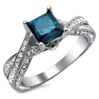 Noori 14k White Gold 1 3/5 ct TDW Certified Princess-cut Blue and Round White Diamond Engagement Ring (G-H, SI1-SI2)