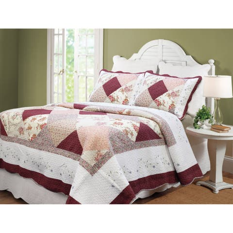 Cozy Line Georgia Burgundy Cotton Patchwork 3-piece Quilt Set
