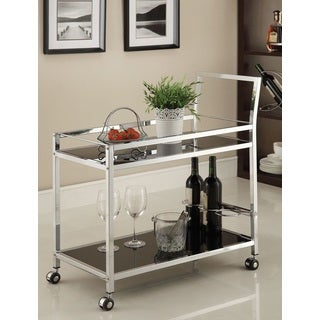 Chrome Metal with Black Tempered Glass Bar/ Tea Serving Cart