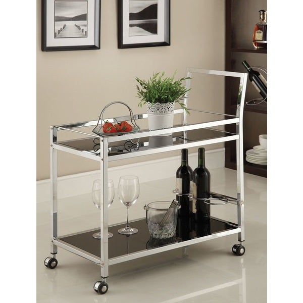 Kitchen Bar On Wheels: Shop Chrome Metal With Black Tempered Glass Bar/ Tea