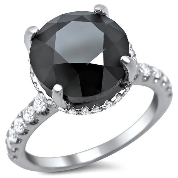 Noori 18k White Gold 5 3/4ct TDW Black Round Diamond Engagement Ring
