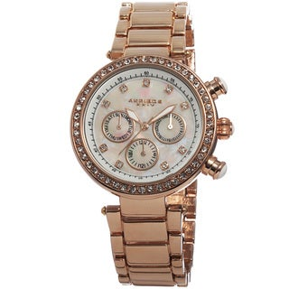 Akribos XXIV Women's Multifunction Crystal Mother of Pearl Dial Quartz Rose-Tone Bracelet Watch