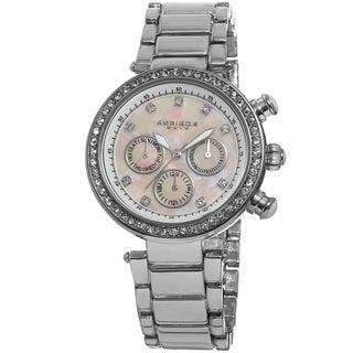 Akribos XXIV Women's Multifunction Crystal Mother of Pearl Dial Quartz Silver-Tone Bracelet Watch