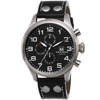 Akribos XXIV Men's Swiss Quartz Multifunction Leather Silver-Tone Strap Watch