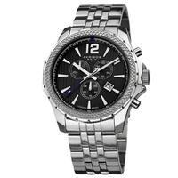 Akribos XXIV Men's Swiss Quartz Chronograph Stainless Steel Silver-Tone Bracelet Watch