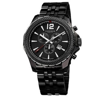 Akribos XXIV Men's Swiss Quartz Chronograph Stainless Steel Black Bracelet Watch